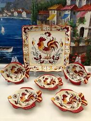 6pcs Maxcera Yellow And Red Provence Rooster Square Serving Platter 5 Snack Plates