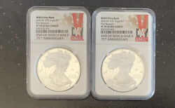 2020 W V75 Silver Eagle Pf 70 Ultra Cameo Ngc Wwii Anniversary Lot Of 2