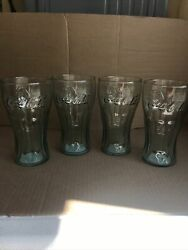 Lot Of 4 Vintage Green Bell Shape Glass Embossed Coca Cola Glasses/indiana Glass