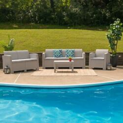 Modern 4pc Outdoor Faux Rattan Chair, Loveseat, Sofa And Table Set In Light Gray