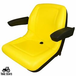 Yellow High Back Seat With Armrests Fits John Deere 650 750 850 950 1050 Tractor