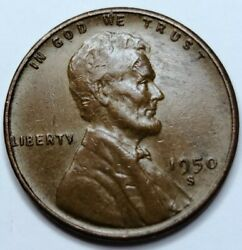 1950-s Lincoln Wheat One Cent Copper Penny 1¢. San Francisco Mint.