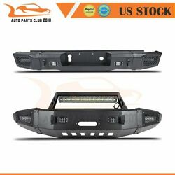 Powder Coated Front Rear Bumper Guard With Lights For 15-17 Chevy Silverado 2500