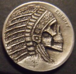Hand Carved Hobo nickel Chief skull skeleton unsigned free mail $85.00