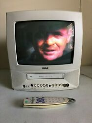 Rca T13072 Crt 13 Tv Vcr Combo Vhs Player Retro Gaming Vintage White W/ Remote