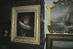 Stunning Fine Antique Large Portrait Of Young Boy Restored And Cleaned