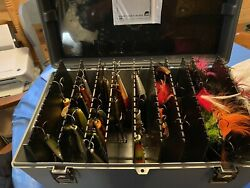 Vintage Plano Musky Tackle Box + 37 Musky Lures All In Excellent Shape.