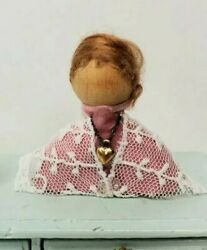 Vintage Wig Necklace And Lace Shawl Dress Form 112 Dollhouse Miniature Display