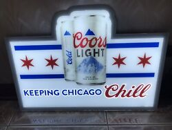 """Coors Light Beer """" Keeping Chicago Chill"""" Led Lighted Sign New In Box"""