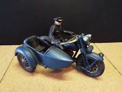 Vintage Cast Iron Hubley Toy Motorcycle W/ Side Car Policeman, Re-pop