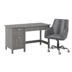 Broadview 54w Computer Desk And Chair Set In Modern Gray - Engineered Wood