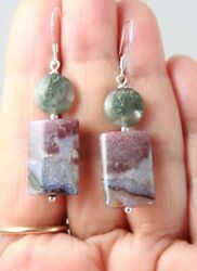 Unique Brown Gray Agua Nueva Agate And Green Moss Agate Sterling Silver Earrings