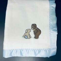 Vintage Carters Cotton White Baby Blanket Bear And Bunny Friends Blue Satin Trim