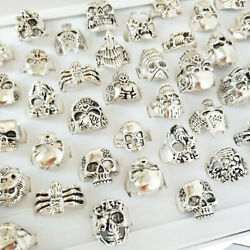 24/50pc Wholesale Lots Retro Punk Animal Skull Jewelry Antique Mixed Style Ring