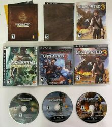 Uncharted 1-3 Bundle - Ps3 Playstation 3 Video Game Tested/works Complete