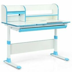 Duradjustable Height Study Desk W/drawer And Tilted Desktop For School And Home-blue