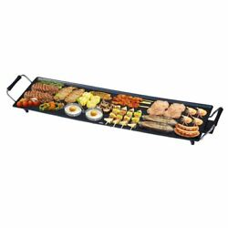 Durable Black Electric Teppanyaki Table Top Non Stick Grill Griddle