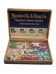 Antique Mandeville And King Co Wooden Flower Seed Store Display Box Rochester Ny