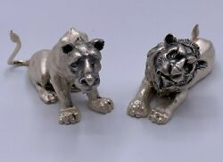 Vintage Sterling Silver Figurines Pair Of Lion And Lioness Sighned Handmade