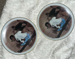 """Vintage Antique Collectible Norman Rockwell """"listening"""" Plates"""