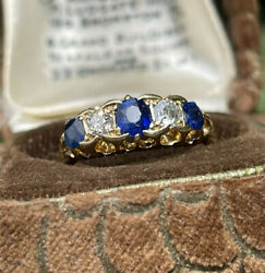 Fine 18ct Gold Edwardian Antique 5 Stone Sapphire And Diamond Ring Size L 3.9g
