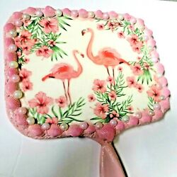 Pink Flamingo Shell Hand Held Mirror_14 X 12_mirrors_ Unique Beauty Gift For Her
