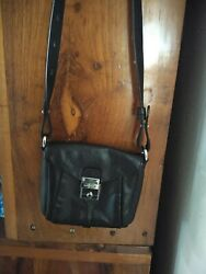 COLE HAAN Black Crossbody Leather Purse bag Mini silver LOGO Pre owned $12.99