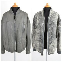Menand039s Leather Jacket With The Inside Of Real Persian Lamb Fur Jacket Gray Xl
