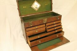 Vintage Union Steel Chest Le Roy N.y. Usa Wooden Tool Box N.100 . Complete
