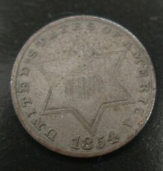 1854 Silver Three Cent Piece 3cp Type Coin Trime Strong Date Semi Key