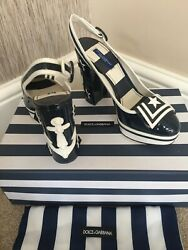 Dolce And Gabbana Nautical Leather Shoes Size 4 As Worn By Pixie Lott Retail Andeuro845