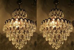A Pair Antique Vnt French Big Basket Style Crystal Chandelier Lamp 1940and039s 14in D