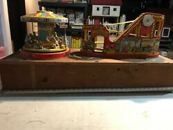 J. Chein Tin Lithographed Disneyland Rollercoaster And Chein Merry Go Round