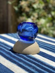 Fire And Light Arcata, Ca Recycled Art Glass Cobalt Glow Bug Candle Holder Blue