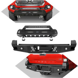 Black Steel Front + Rear Bumper W/led Light D-ring For Toyota Tacoma 2016-2021