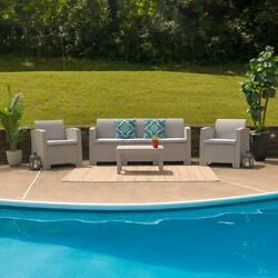 Modern 4pc Outdoor Faux Rattan Chair, Sofa And Table Set In Light Gray