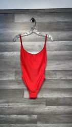Sunny Co Pamela Swimsuit Red Cheeky One Piece Large Euc