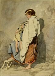 Alfred Fripp Uk1822-1895 Watercolor Painting Antique