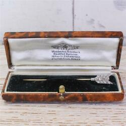 Belle Epoque Old Cut And Step Cut Diamond Arrow Stick Pin - Gold And Plat - C 1915