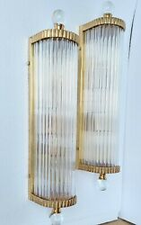 Pair Vintage Old Art Deco Brass And Glass Rod Ship Light Fixture Wall Sconces Lamp