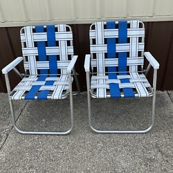Vintage Set Of 2 Aluminum Folding Lawn Chairs Blue White Web Seating