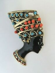 Vintage Nefertiti Brooch Faux Coral And Faux Turquoise