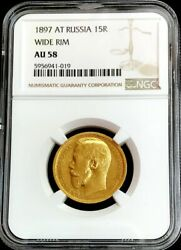 1897 At Gold Russia 15 Roubles Nicholas Ii Coinage -ngc About Unc 58 Wide Rim