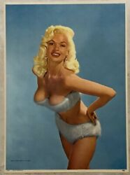 Jayne Mansfield Vintage Era 12 X 16 Pin-up Cheesecake Litho Excellent Minus
