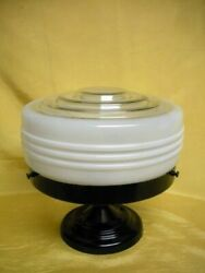 Retro Art Deco Ceiling Glass Lamp Shade And Light Fixture Works, Vintage Space Age