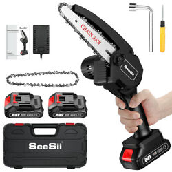 Seesii 110-220v 6 Inch Rechargeable Mini Cordless Chainsaw Fit For Gardens Farms