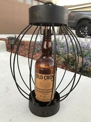 Early Vintage Old Crow Bourbon American Whiskey Glass Bottle Hanging Sign