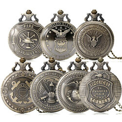 Mens Quartz Pocket Watch Chain Vintage The Usa Department Of The Army Steampunk