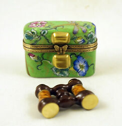 New French Limoges Trinket Box Binoculars In Amazing Floral Dragonfly Case
