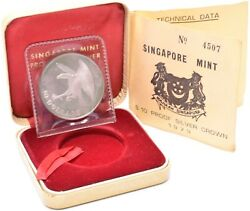 1973 Singapore Mint Silver Proof 10 Crown Coin Boxed + Coa